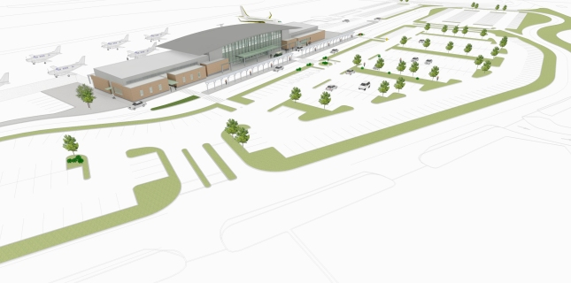Birdseye view rendering - illustrating new passenger terminal and parking facilities